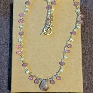 Pretty purple/pink stone and crystal necklace